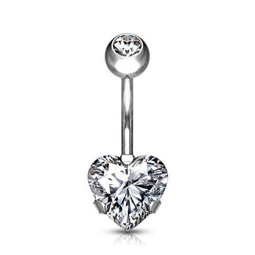 PiercedOff - Piercing per ombelico in titanio con cuore e zirconia cubica e Titanio, colore: Trasparente, cod. BT3025/POT23N10-141058-C