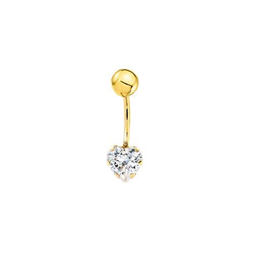 Piercing per ombelico cuore zirconi - oro giallo 9k (375)