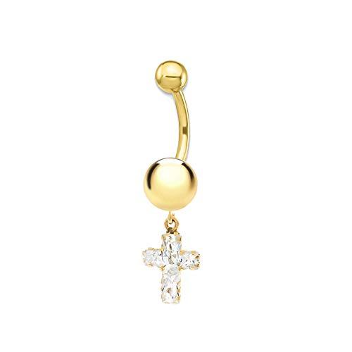 Piercing per ombelico tondo 6 mm croce - oro giallo 9k (375)