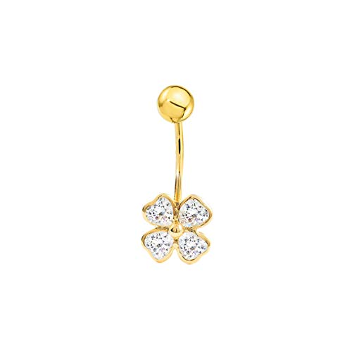 Piercing per ombelico trifoglio con zirconi - oro giallo 9k (375)