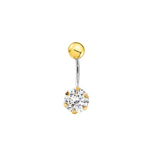Piercing per ombelico zirconi - acciaio e oro giallo 9k (375)