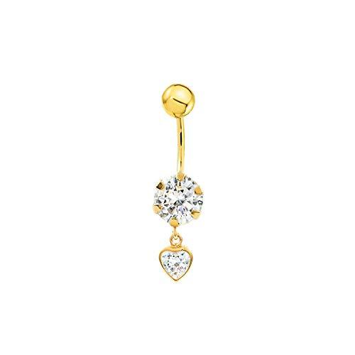 Piercing per ombelico zirconi cuore 5 mm - oro giallo 9k (375)