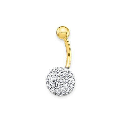Piercing per ombelico zirconi - oro giallo 9k (375)