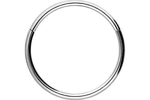 Piercingline - Piercing ad anello in acciaio chirurgico con chiusura a scatto, per setto nasale, helix, trago, colore e dimensioni a scelta, colore: argento, cod. SL280C-9
