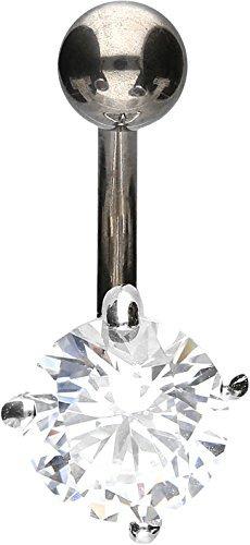 PIERCINGLINE - Piercing per ombelico in titanio | cristallo rotondo in argento 925 | Piercing a banana | colori assortiti e Titanio, colore: argento, cod. TBX696-SI