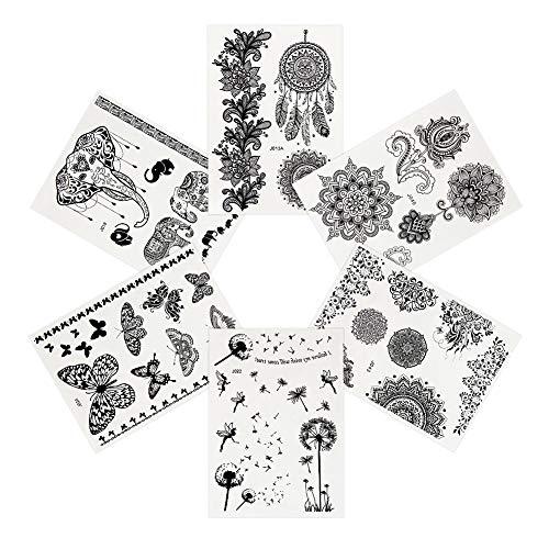 Pinkiou tatuaggi temporanei fiore elefante pizzo nero Adesivi Donna body art (6 pezzi)