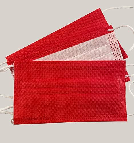 Protezionipiù Mascherine Chirurgiche Rosse - 10 Mascherine Chirurgiche Certificate COLORATE per Donne e Bambini - Mascherine A 3 Strati - Bustina Da 10 Pezzi - CERTIFICATE CE (Rosso)
