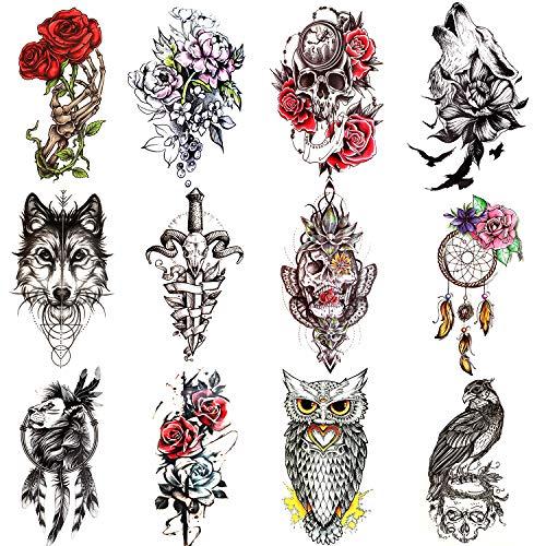 Qpout 12 Fogli Grandi Tatuaggi Temporanei per donna uomo, adesivi tatuaggio mezzo braccio, lupo fiore teschio leone gufo totem tribali tatuaggi, decorazione festa tatuaggio per adulti bambini