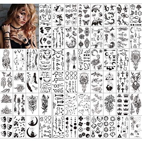 Qpout Tatuaggi temporanei per adulti Donna Uomo Bambini (60 fogli), Tatuaggi neri impermeabili Tribal Face Braccio manica Collo Polso Tatuaggi Fiore di totem Farfalla Piuma di squalo