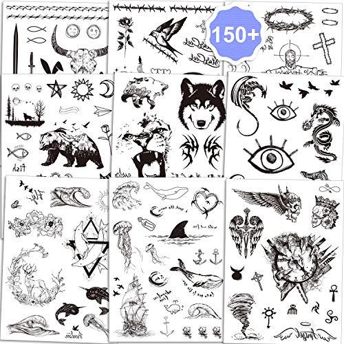 Qpout Tatuaggi temporanei per uomini adulti Donne bambini (150 + pz), adesivi per tatuaggio totem tribali neri viso tatuaggi braccio mano Testa di toro teschio Mamba serpente lupo coniglio croce gufo