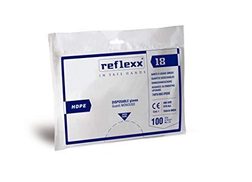 Reflexx R18 Guanti in Polietilene Alta Densità (Hdpe), Taglia Unica, 100 Pezzi, Trasparente
