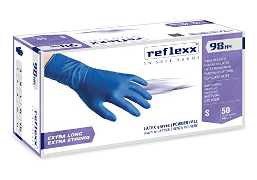 Reflexx R98 Guanti in Lattice ad Alta Resistenza, Senza Polvere, Taglia M, Blu (Confezione da 50 Pezzi)