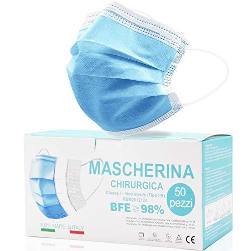 Rhino Valley Mascherine Chirurgiche, Mascherina chirurgica, MADE IN ITALY Monouso Certificate - Mascherina A 3 Strati (Confezione Da 50 Pezzi) Magazzino Italiano Consegna 24/48 ore- CERTIFICATA CE