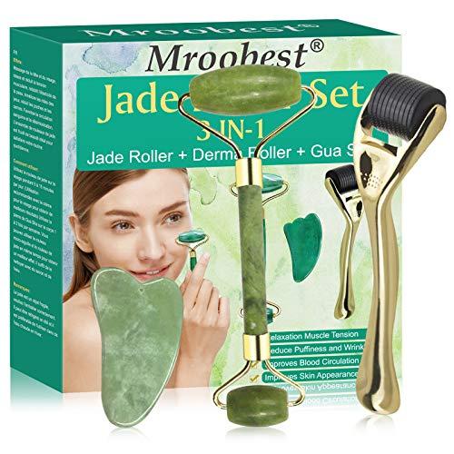 Rullo di Giada, Derma Roller, 3-In-1 Jade Roller Massager Set, per il trattamento del gonfiore degli Viso, rassoda la pelle, Viso Ridurre l'invecchiamento Delle Rughe, ringiovanisce viso e collo