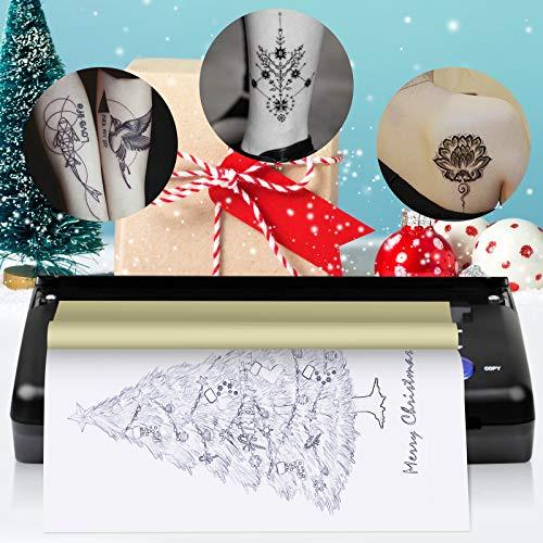 S SMAUTOP Tatuaggio Trasferimento Transfer Machine Stampante Tattoo da Tatuaggio Stampatore di A5 A4 Tattoo Copier Stampante Termica Kit di Carta Stampante per Trasferimento di Tatuaggi (Nero)