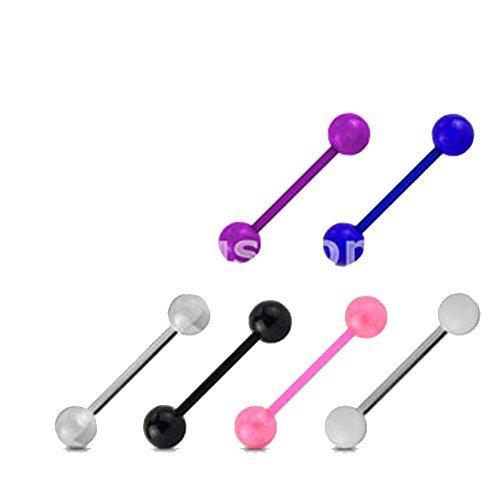 Set di 6 piercing a barra in acrilico, flessibile, UV, 6 colori, lingua/arcata