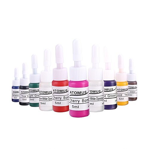 Set inchiostri per tatuaggi, 10 Clolors Pigment Ink per Body Paint Microblading Permanent Makeup Sopracciglio (5ml / Bottle)