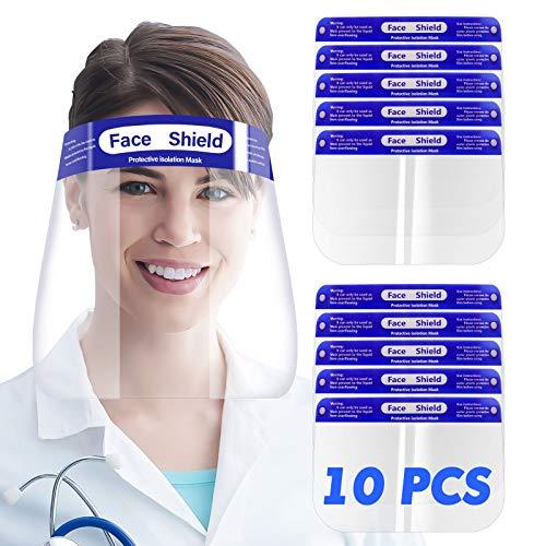 SGODDE 10 Pcs Visiera Protettiva di Sicurezza, Visiera Trasparente Regolabile, Visiera di Sicurezza Coperchio Antinebbia Proteggi Gli Occhi e Il Viso per Cucina da Laboratorio all'aperto