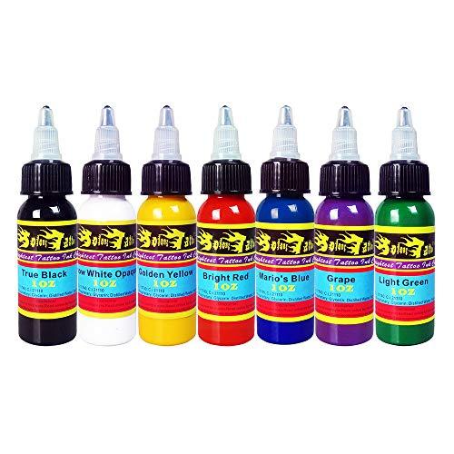 Solong Tattoo Inchiostro Da 7 Unità Pigmento Di Base Colori Del Tatuaggio 1 ONCIA 30 ml/Bottiglia Kit Di Inchiostri Per Tatuaggi Alta Qualità Forniture Per Tatuaggi TI301-30-7