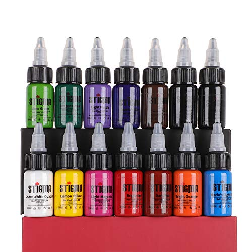 Stigma Kit di inchiostri per tatuaggi Set professionale Inchiostri per tatuaggi di alta qualità e forniture 7 confezioni Inchiostro per tatuaggi Colori 1/2 oz (14 colori)