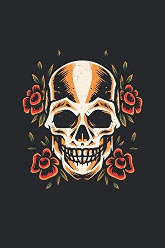 Stile tatuaggio teschio: Quaderno con illustrazione di teschi old school a righe (formato A5, 15, 24 x 22, 86 cm, 120 pagine)