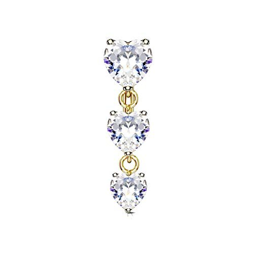 Tata Gisèle - Piercing per ombelico in acciaio chirurgico e ossido di zirconio, 3 cuori pendenti e Acciaio inossidabile, colore: oro, cod. 3701181734773