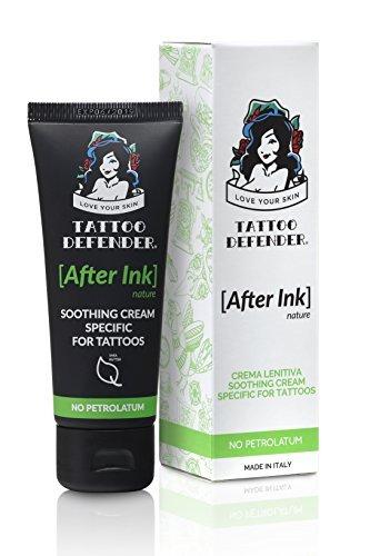Tattoo Defender After Ink Nature - Crema Lenitiva Idratante per la Cura e la Guarigione dei Nuovi Tatuaggi senza petrolatum non macchina e non unge 50 ml