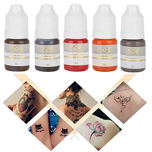 Tattoo Pigment Kit, Inchiostro del tatuaggio professionale 5Pcs Semi-Permanent Makeup Ink Colore per Eyebrow Lips Eye Line,Tattoo Body Art pigmento trucco permanente