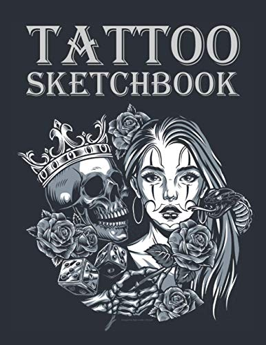 """Tattoo Sketchbook: For professional tattooists and students to draw, sketch and record creative ideas. (8.5"""" x 11"""" 120 pages, vintage chicano tattoo round concept cover.)"""