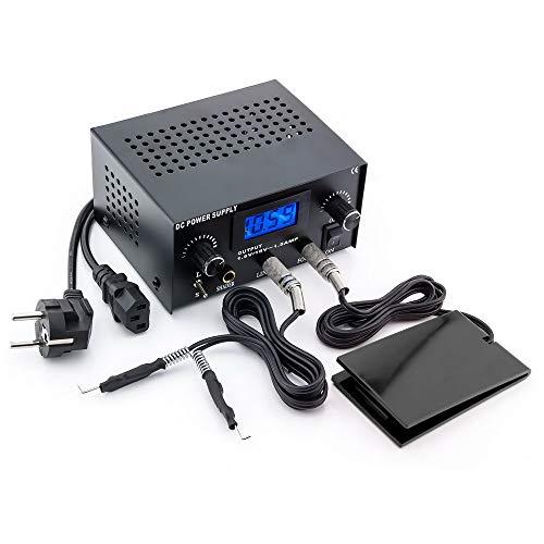 Tattoochest - Set professionale 3 in 1 per tatuaggi, alimentatore LCD digitale, puntatori, dispositivo di alimentazione per due macchine per tatuaggi, con pedale e cavo clip-cord (S+S).