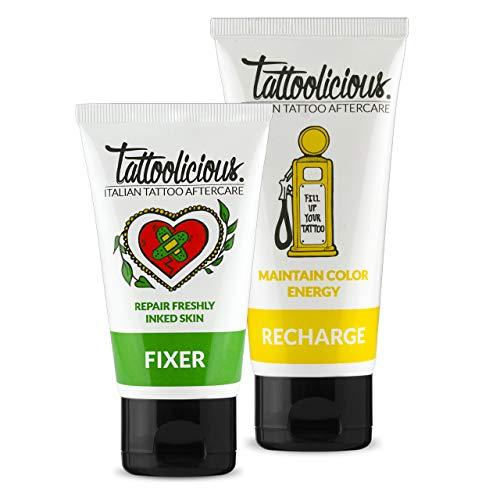 Tattoolicious COMBO CARE - FIXER Crema lenitiva con Principi Attivi Bio per tatuaggio appena eseguito, 75 ml + RECHARGE Crema rivitalizzante del tatuaggio, con Principi Attivi Bio, 100 ml
