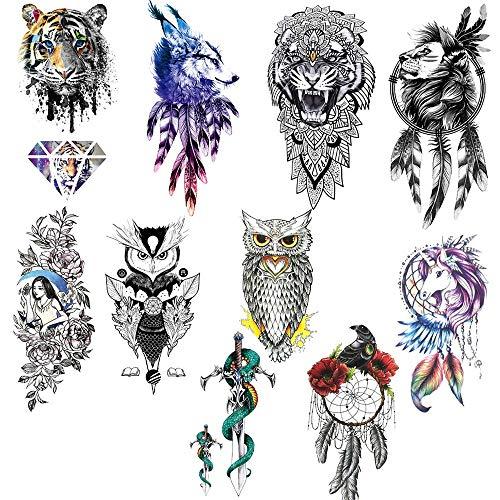 Tatuaggi Temporanei 10 fogli Tatuaggio Temporaneo Grande Tattoo Sleeve Temporanei Rimovibili Tatuaggi Adesivi Corpo per Uomo Donne