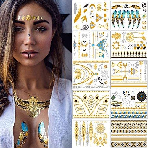 Tatuaggi Temporanei - Meersee Metallico Flash Temporanei Temporaneo Tatuaggi Tattoo Impermeabile10 Diverso Foglio Pack Falso Gioielli