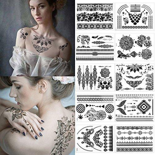 Tatuaggi Temporanei – Meersee Set Di 10 Tatuaggi Temporanei In Diversi Disegni Tatuaggi Impermeabile Gioielli Mandala Tatuaggi per Adulti e Bambini