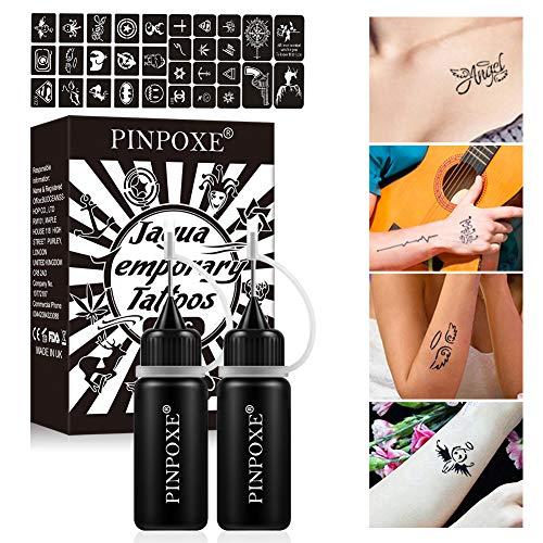 Tatuaggi Temporanei, Tattoo Ink Kit, Inchiostro del Tatuaggio, Jagua Gel, Freehand Ink Tattoo, Temporary Tattoo Ink, Jagua Fruit Gel/Ink con stencil per tatuaggi di design speciale