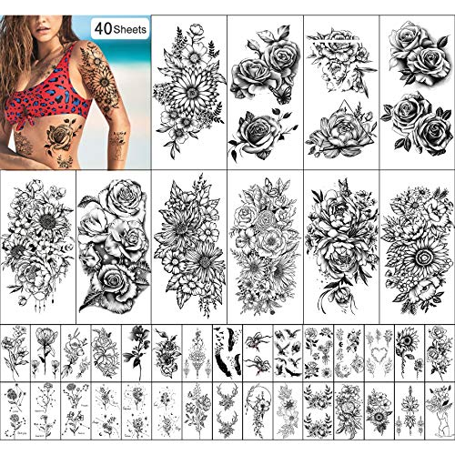 Tatuaggio Temporaneo Impermeabile per Donne e Ragazze 10 Fogli Extra Più Grandi e 30 Fogli Kit Adesivi per Tatuaggi Finti Piccoli per La Decorazione