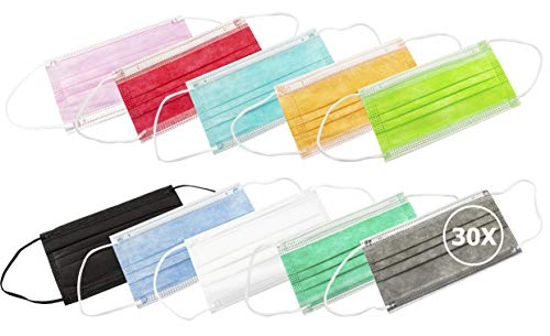 TBOC Maschera Igienica Monouso - [Pack 30 Unità] Mascherina [Multicolore] Polipropilene a 3 Strati Leggera e Morbida Traspirante Clip per Naso Protezione Facciale Alta Filtrazione [Non Riutilizzabile]