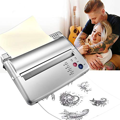TTLIFE Tatuaggio Trasferimento Machine Stampante Tattoo Stencil Machine Per Tatuaggi Disegno Stampante Termica,Professionale Tattoo Transfer Copierwith,Regalo di Natale,500 Digital Patterns (bianca)