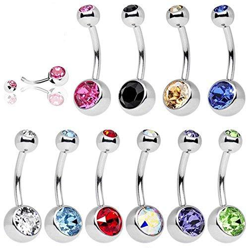 UWILD, 10 piercing per ombelico, in titanio e acciaio inox, in confezione regalo, per ombelico, con cristallo e vetro lucido, gioiello con arco e diamante