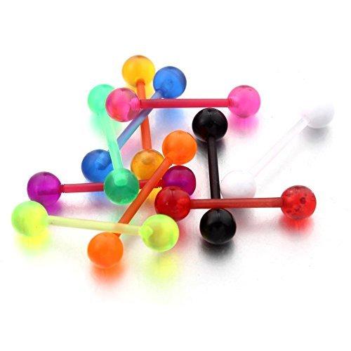Vcmart 10 Pezzi Piercing Assortiti per Lingua Flessibile Colori Misti
