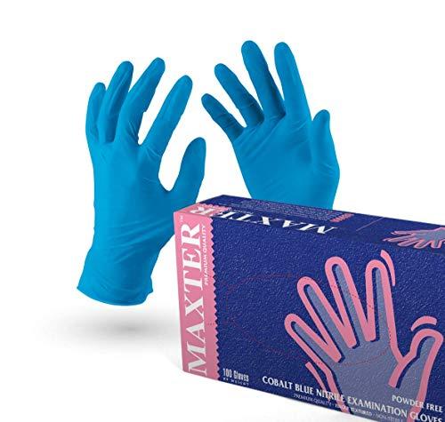 VENSALUD - Guanti monouso in NITRILE. Senza polvere. Scatola da 100 guanti. Colore: Blu Cobalto (L)
