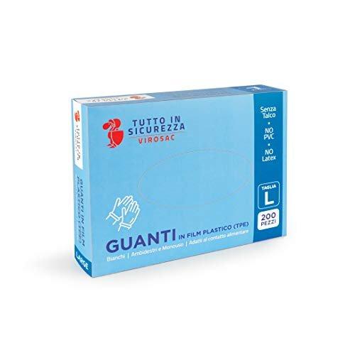 VIROSAC guanti in TPE, adatti al contatto alimentare, senza talco, bianchi, confezione da 200pz, taglia L
