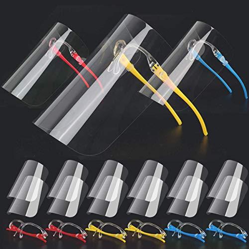 Visiera protettiva integrale in plastica, regolabile, trasparente, resistente, per proteggere da saliva, vapori di olio, sputi, vetro antiappannamento, (con 6 montature per occhiali + 12 Visiere)