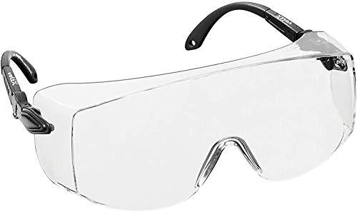 voltX 'OVERSPECS' Occhiali di sicurezza per uso industriale dotati di certificazione CE EN166F (lenti trasparenti) aste regolabili singolarmente, anti-nebbia, resistenti ai graffi Safety Glasses