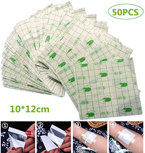 wordmo 50pcs adesivo impermeabile trasparente, ferita medico nastro medicazione fissatore gesso fissazione tratto nastro tatuaggio aftercare fasciatura anallergici auto-incolla, 10cmx12cm