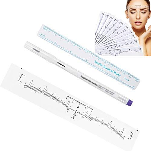 YouU 1 Set di Pennarelli per Tatuaggi con Punta Chirurgica,Monouso Sopracciglio Righello Sticker Strumento di Trucco (1.0mm)