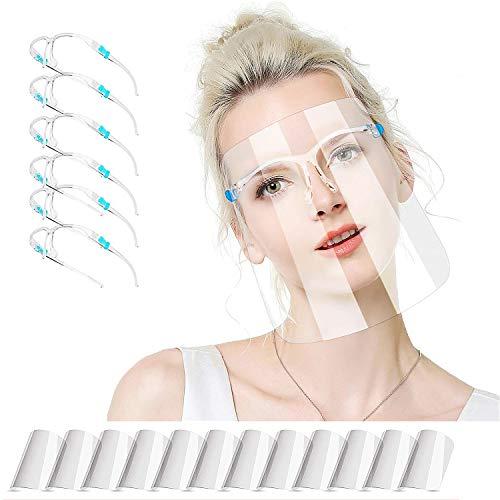 ZUXNZUX Visiere_Protettiva Trasparente per Adulti e Bambini, Face_Shield_Visor può essere pulito, Sostituibile e Riutilizzabile(Con 12 visiere e 6 montature per occhiali)