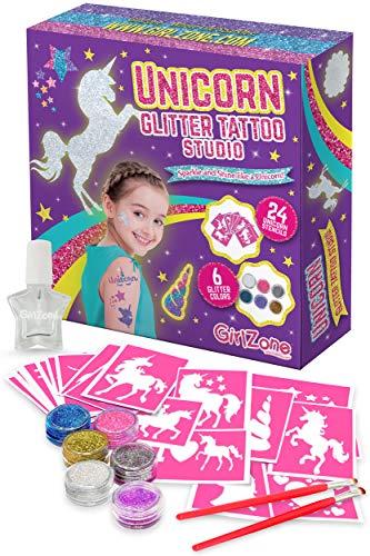GirlZone Regalo Ragazza - Giochi Bimba Glitter Tattoo Studio Unicorno- Set Tatuaggi Glitter Bambina - Set 33 Pezzi con Glitter per Tatoo, Stencil- Tatuaggi Riutilizzabili