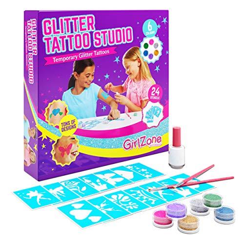 GirlZone Regalo Ragazza - Glitter Tattoo Studio, Set Tatuaggi Glitter Bambina - Set 33 Pezzi con Glitter per Tatoo, Stencil, Tatuaggi Regali per Bambina