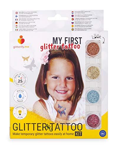 Il Mio Primo Tatuaggio Glitter – Kit per Tatuaggi Glitter per Ragazze, per Bambine – Made in The EU, qualità cosmetica
